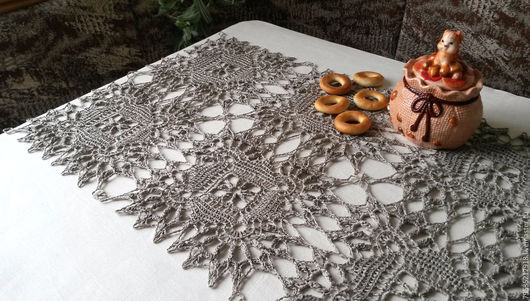 Текстиль, ковры ручной работы. Ярмарка Мастеров - ручная работа. Купить Вязаная крючком льняная салфетка (дорожка) Фроттола. Handmade.