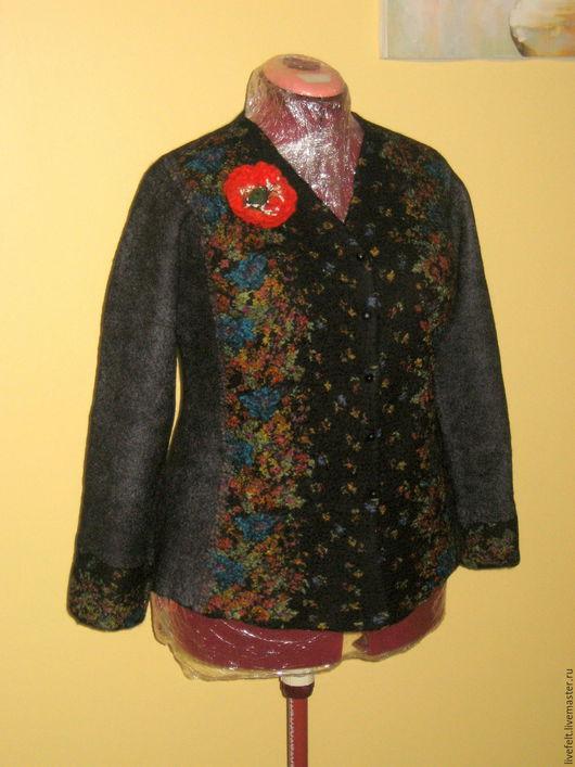 Пиджаки, жакеты ручной работы. Ярмарка Мастеров - ручная работа. Купить Валяный пиджак чёрный в цветочек кофта. Handmade. Жакет