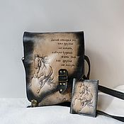 Сумки и аксессуары handmade. Livemaster - original item The bag is leather and the cover is engraved to order.As a gift to VOSS.. Handmade.