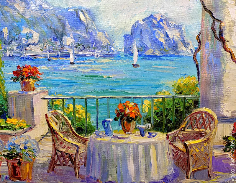 Lovely Painting With The Sea U0027Dining Under The Wisteriau0027 Oil On Canvas