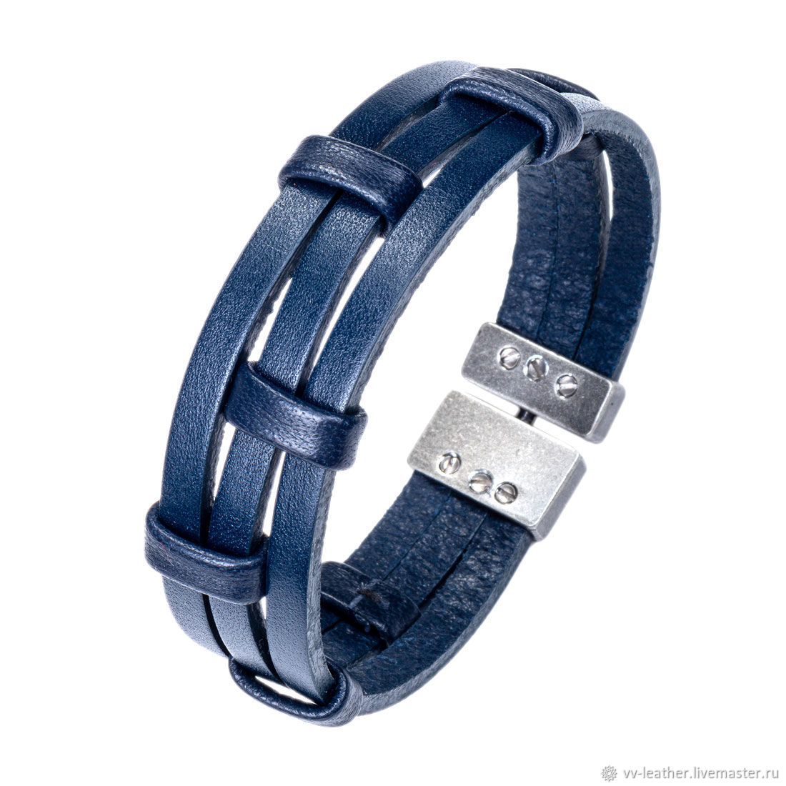 Bracelet blue leather three, Bead bracelet, Moscow,  Фото №1
