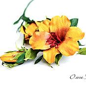 Комплект украшений из кожи Солнечные лилии цветы рыжие