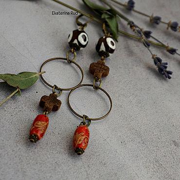 Decorations handmade. Livemaster - original item Stylish asymmetric boho Earrings with agate JI