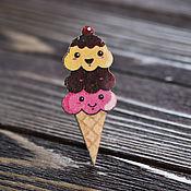 Украшения handmade. Livemaster - original item Wooden Ice cream icon. Handmade.