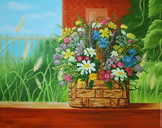 """Пейзаж ручной работы. Ярмарка Мастеров - ручная работа. Купить Картина маслом """"Летний день"""" №2. Handmade. Комбинированный, цветы"""