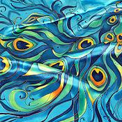 Аксессуары handmade. Livemaster - original item Shawl silk batik turquoise pave. Handmade.