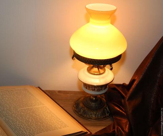 Винтажные предметы интерьера. Ярмарка Мастеров - ручная работа. Купить Лампа настольная. Handmade. Настольная лампа, латунь, уют