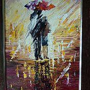 Картины ручной работы. Ярмарка Мастеров - ручная работа Kiss in the rain. Поцелуй под дождем.. Handmade.