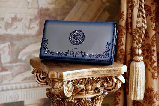 Женские сумки ручной работы. Ярмарка Мастеров - ручная работа. Купить Клатч Blue Flower. Handmade. Кожа натуральная