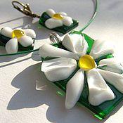 Украшения handmade. Livemaster - original item Set of glass Hello, Daisy... fusing, glass decoration. Handmade.