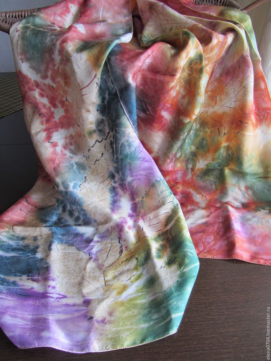 Шарфы и шарфики ручной работы. Ярмарка Мастеров - ручная работа. Купить Шелковый шарф батик ботанический принт Яркая осень. Handmade.