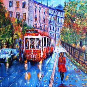 Картины и панно ручной работы. Ярмарка Мастеров - ручная работа Картина маслом Питерский трамвайчик. Handmade.