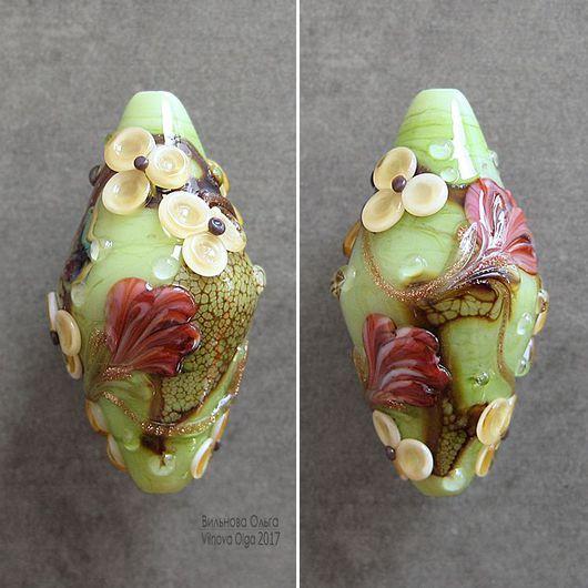 Для украшений ручной работы. Ярмарка Мастеров - ручная работа. Купить Бусины-Клумбы лэмпворк с рельефным цветочным декором. Handmade.