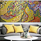 Картины и панно handmade. Livemaster - original item Modular vivid picture in the style of abstraction Klimt. Handmade.