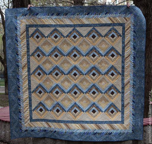 """Текстиль, ковры ручной работы. Ярмарка Мастеров - ручная работа. Купить Лоскутное одеяло на двуспальную кровать """"Соты"""". Handmade. Голубой"""