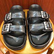 Обувь ручной работы handmade. Livemaster - original item Crocodile Leather flip-flops, summer casual shoes.. Handmade.