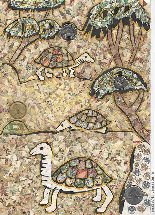 Фен-шуй ручной работы. Ярмарка Мастеров - ручная работа. Купить Древние черепахи. Handmade. Фен-шуй, коллаж, карандаш