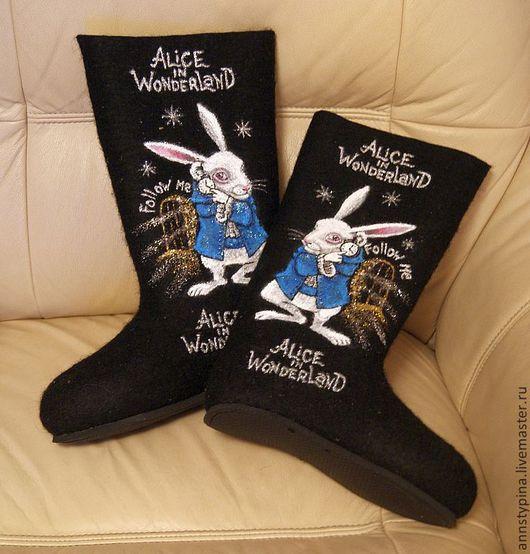 Обувь ручной работы. Ярмарка Мастеров - ручная работа. Купить алиса  в стране чудес. Handmade. Черный, валенки, зима, подарок