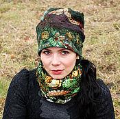 "Аксессуары ручной работы. Ярмарка Мастеров - ручная работа Валяная шапка ""Зеленые цветы"". Handmade."