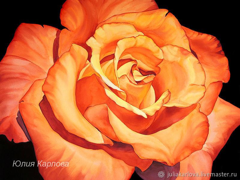 Акварельная картина Огненная роза, Картины, Ялта,  Фото №1