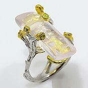 Украшения handmade. Livemaster - original item Silver ring with rose quartz and chrysolite. Handmade.