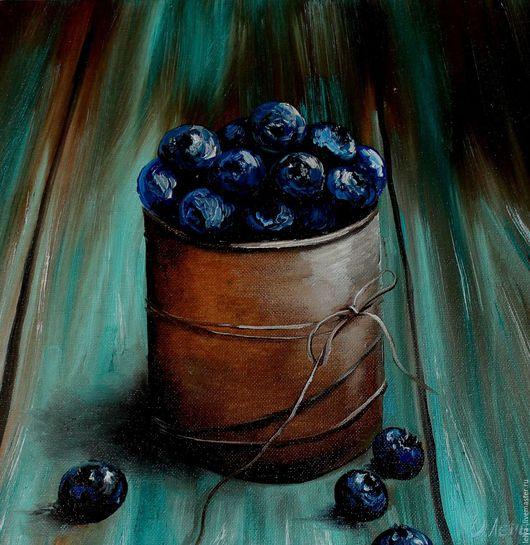 Натюрморт ручной работы. Ярмарка Мастеров - ручная работа. Купить Картина маслом Голубика. Handmade. Комбинированный, ягоды, шоколадный