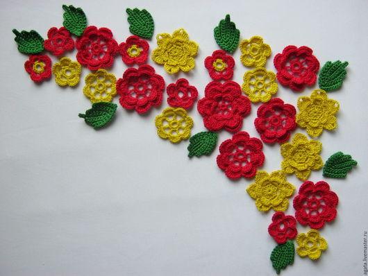"""Аппликации, вставки, отделка ручной работы. Ярмарка Мастеров - ручная работа. Купить Набор аппликаций """"Красные и желтые цветы"""". Handmade."""
