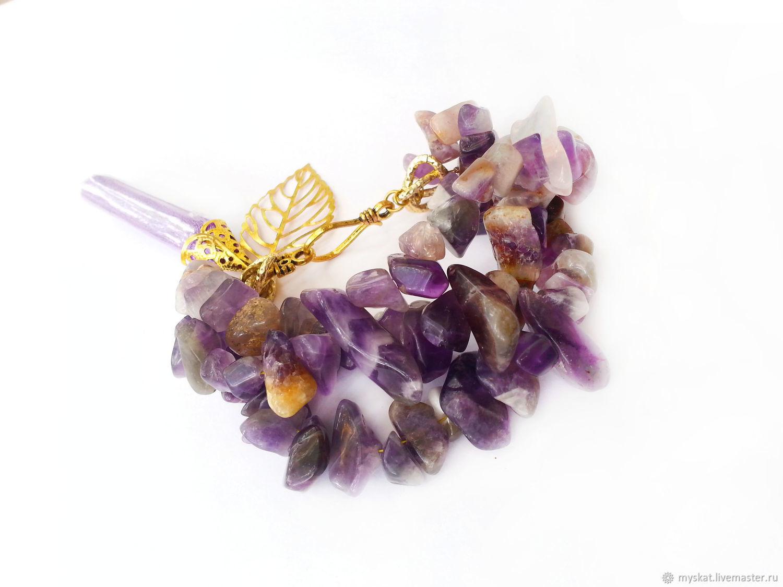 Bracelet amethyst pendant, Bead bracelet, Moscow,  Фото №1