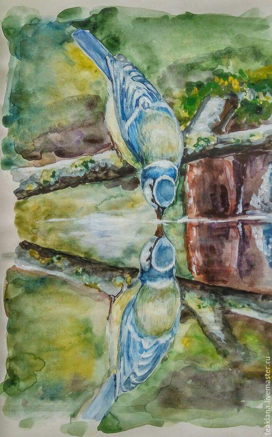 Животные ручной работы. Ярмарка Мастеров - ручная работа. Купить Лазоревка. Handmade. Комбинированный, синица, птица, водоем, акварель