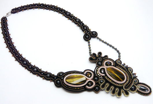 Necklaces & Beads handmade. Livemaster - handmade. Buy necklace with tiger eye.Soutache