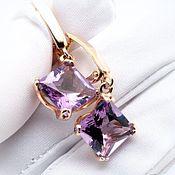 Украшения handmade. Livemaster - original item Gold earrings with Purple amethysts extravaganza. Handmade.