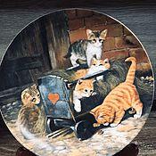 Предметы интерьера винтажные ручной работы. Ярмарка Мастеров - ручная работа Фарфоровая настенная тарелка котята Мотив 1 Seltmann Германия. Handmade.