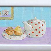"""Картины и панно ручной работы. Ярмарка Мастеров - ручная работа Картина """"Чай с пироженками"""". Handmade."""