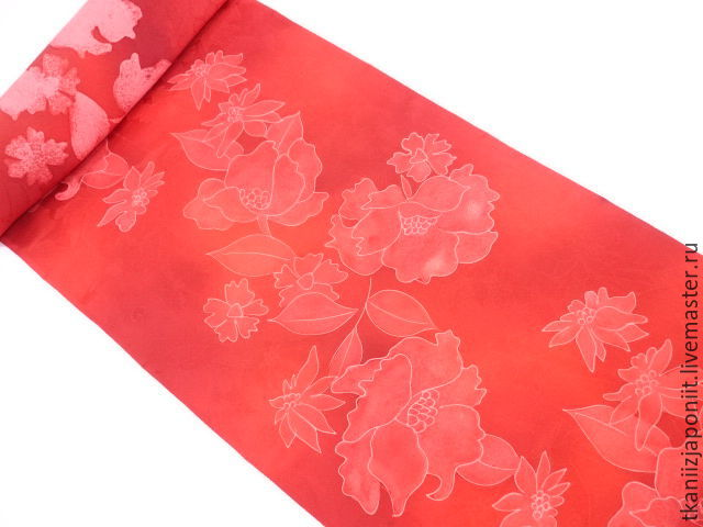 Japanese silk 'Fiery passion', Fabric, Chelyabinsk,  Фото №1