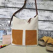 Сумки и аксессуары handmade. Livemaster - original item Linen bag women`s summer with pockets of leather velour. Handmade.
