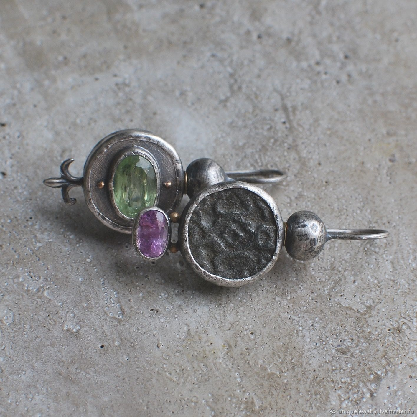 Earrings with antiquities and stones, silver and gold, Earrings, Moscow,  Фото №1