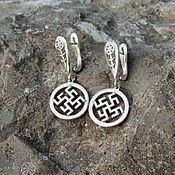 Русский стиль handmade. Livemaster - original item Flower earrings fern. Handmade.