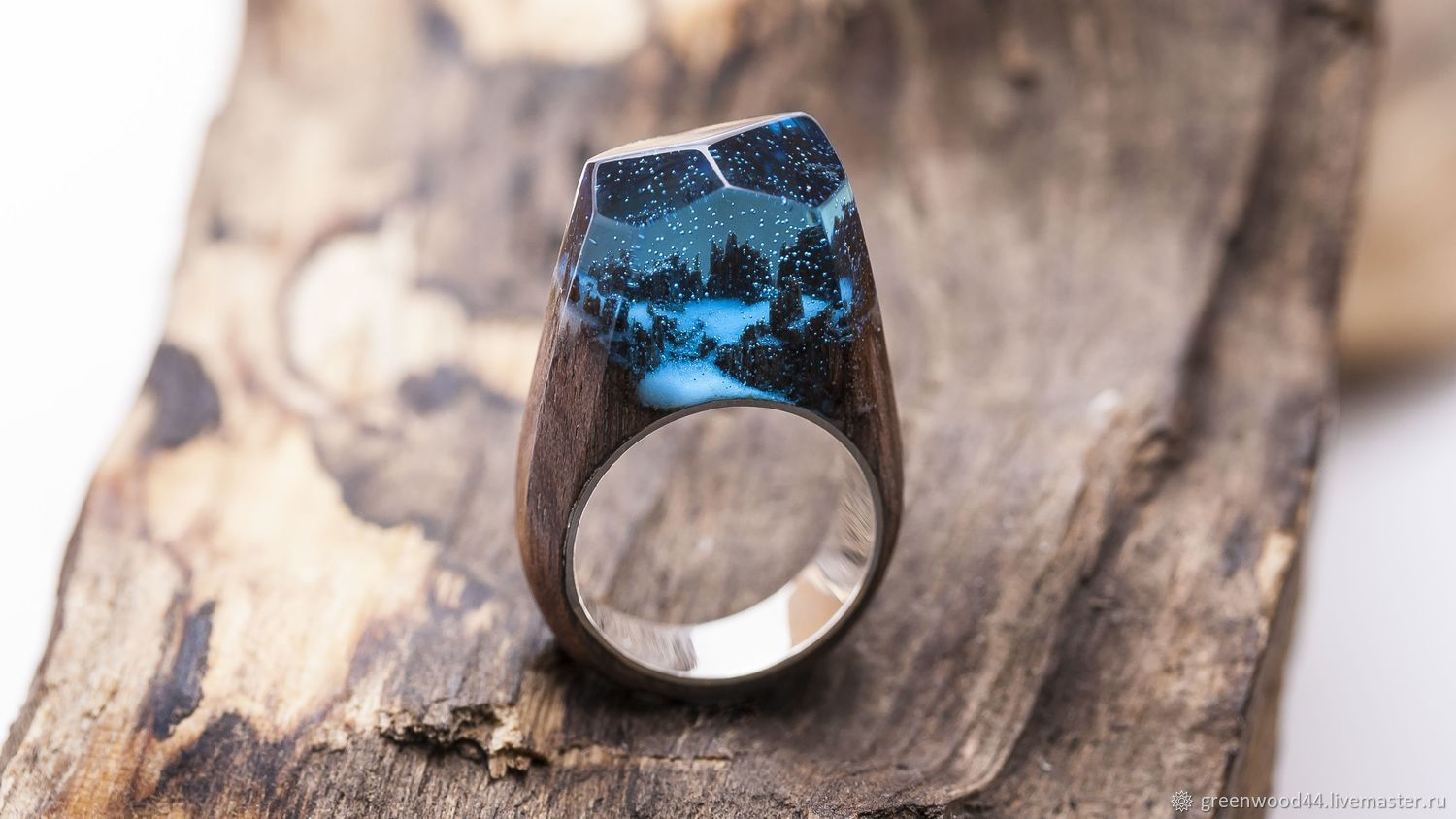Wooden ring 'Winterfell' Silver, Rings, Kostroma,  Фото №1