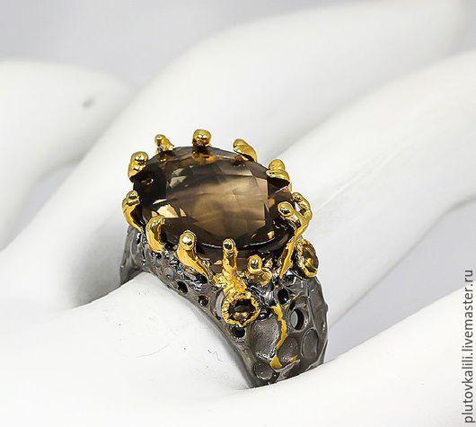 Кольца ручной работы. Ярмарка Мастеров - ручная работа. Купить Кольцо из серебра с натуральным раух-топазом, размер 17,00. Handmade.