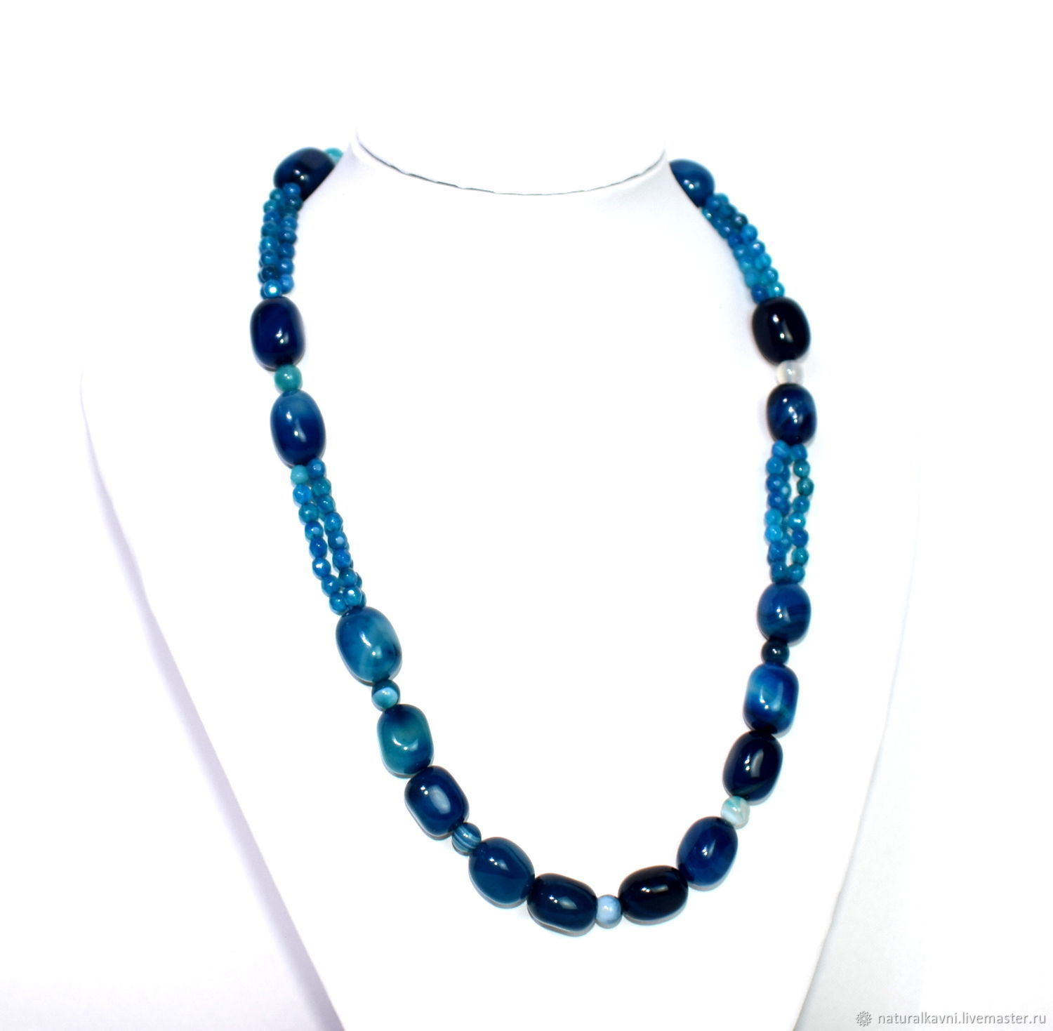 Necklace made of natural blue agate, Necklace, Moscow,  Фото №1