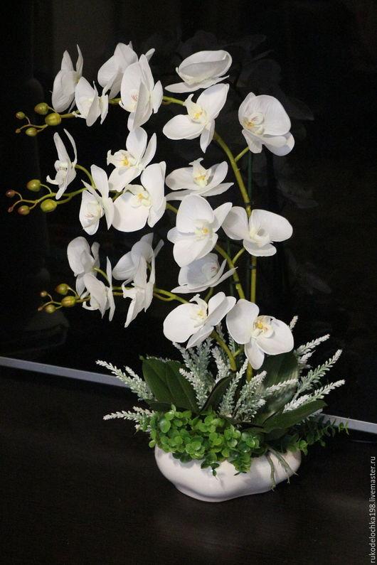 Интерьерные композиции ручной работы. Ярмарка Мастеров - ручная работа. Купить Иммитация орхидеи. Handmade. Белый, композиция из цветов