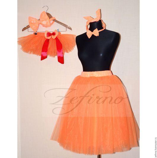 Юбки ручной работы. Ярмарка Мастеров - ручная работа. Купить Familylook (комплект мама дочка) цвет оранжевый. Handmade. Рыжий