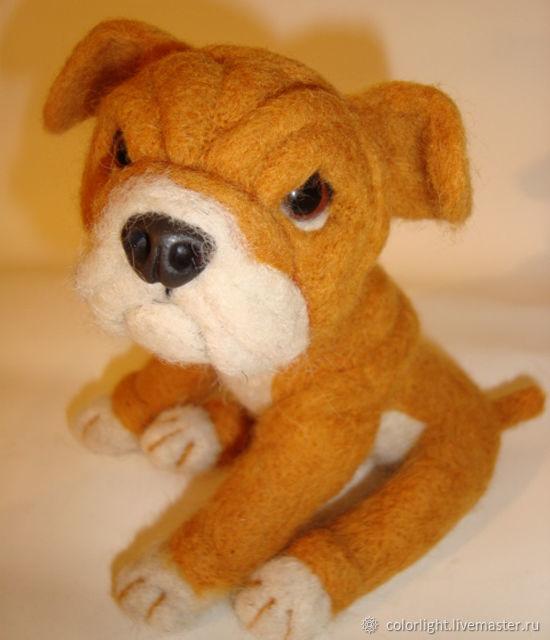 Toy felted Bulldog, Felted Toy, Zelenograd,  Фото №1