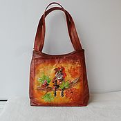 handmade. Livemaster - original item Leather women`s bag with painting to order for Elena.. Handmade.