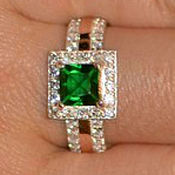 Украшения handmade. Livemaster - original item Silver ring with gold plate and nano emerald. Handmade.