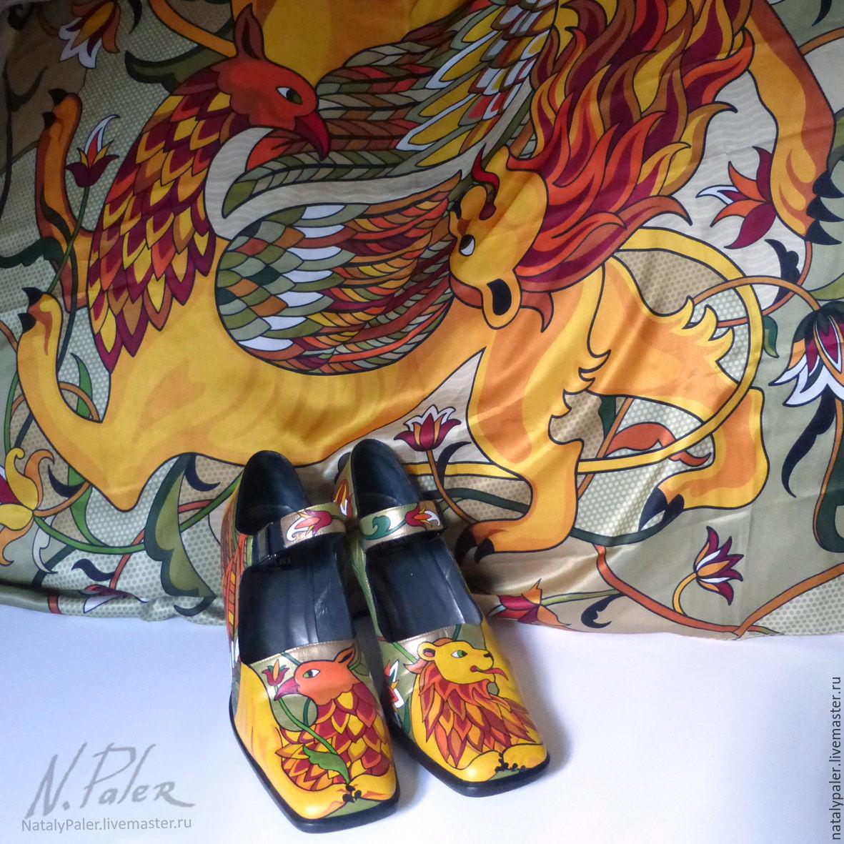 """Роспись по обуви. Туфли с росписью """"Сказочные звери"""", Туфли, Москва,  Фото №1"""