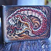 Сумки и аксессуары handmade. Livemaster - original item Leather bill holder with snake embossing(money clip). Handmade.