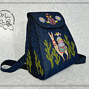 Сумки и аксессуары handmade. Livemaster - original item Backpack SP jeans Lama. Handmade.