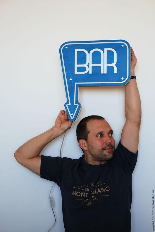 Освещение ручной работы. Ярмарка Мастеров - ручная работа. Купить Светящаяся вывеска Бар Bar Sign. Handmade. Бар, светящийся