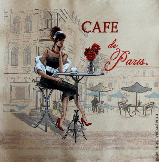 Шитье ручной работы. Ярмарка Мастеров - ручная работа. Купить Кафе Париж брюнетка: гобеленовая заготовка без оверлока, 50-50 см. Handmade.